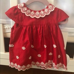 Janie and Jack red dress with bloomers 18-24 mo.